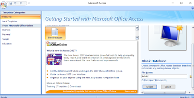 How to create a database in Microsoft Office Access