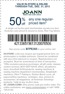 JoAnn 50% off coupon December 2013