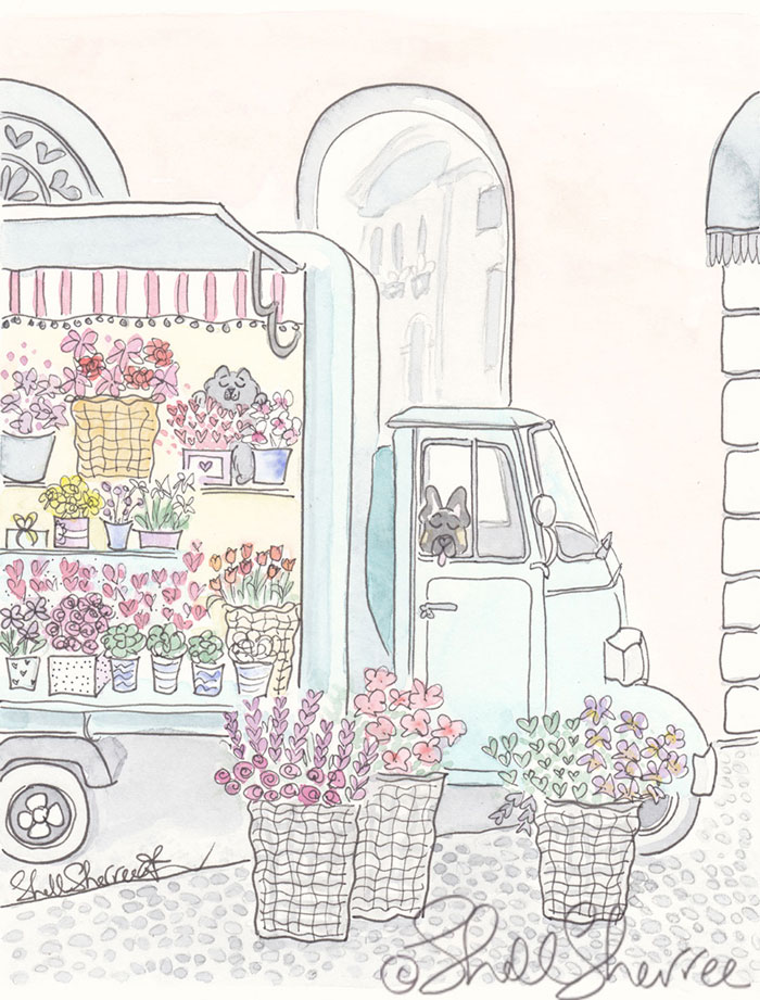 Flower Van in Italy illustration 'Have Flower Truck, Will Travel' © Shell Sherree all rights reserved
