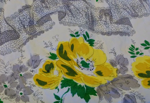 Yellow rose print fabric 1950s style