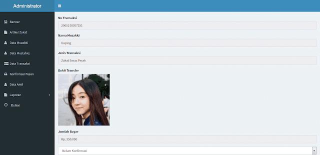 Aplikasi Pembayaran Zakat PHP MySQL