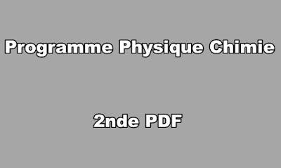 Programme Physique Chimie Seconde PDF