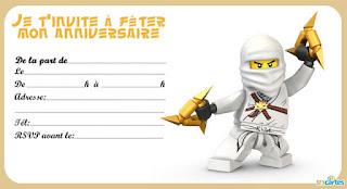 carte invitation anniversaire ninjago gratuite