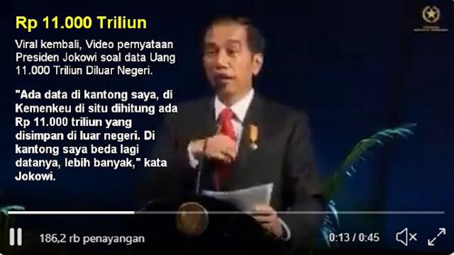 Hebooh, Kembali Viral Video Pernyataan Presiden Jokowi Ada Duit Rp 11.000 Triliun Disimpan di Luar Negeri, Harusnya Cukup Buat Lockdown