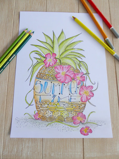 mit Strich und Faden: Summertime | Pineapple | Drawing