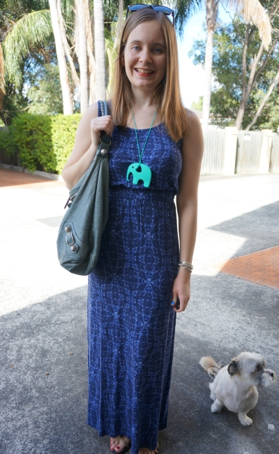 Monochrome outfit, jeanswest printed maxi dress tempete Balenciaga day bag | Away From Blue