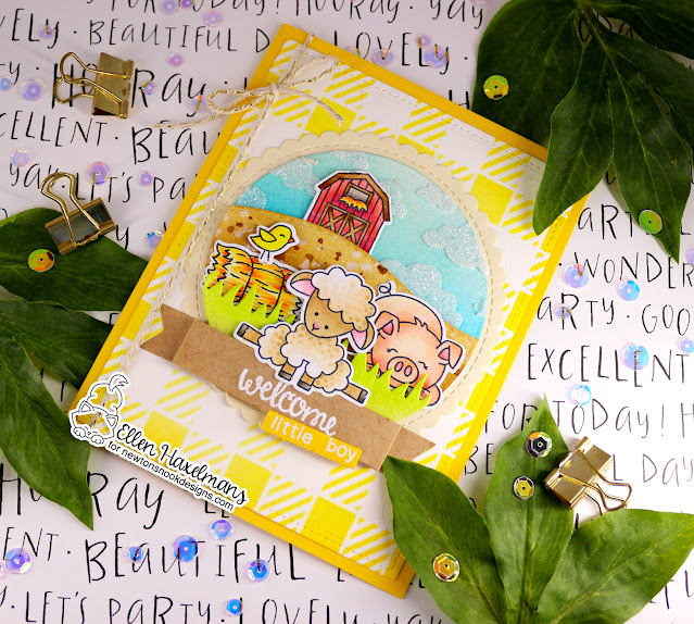 Farm Themed Baby Card by Ellen Haxelmans   Baa, Oink, Cluck, Moo and Loveable Laundry Stamp Sets, Gingham and Cloudy Sky Stencils, and Land Borders and Circle Frames Die Sets by Newton's Nook Designs #newtonsnook