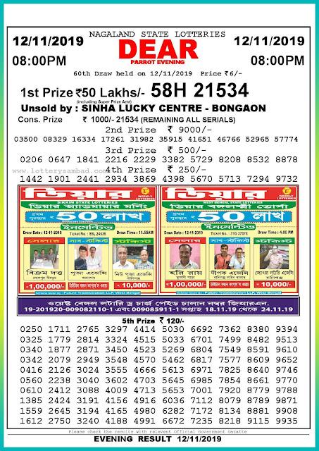 Sambad lottery 12-11-2019 Nagaland State Lottery Result 08.00 PM-lotterysambadresults.com