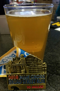 BroadStreetRun - medal and post race beer