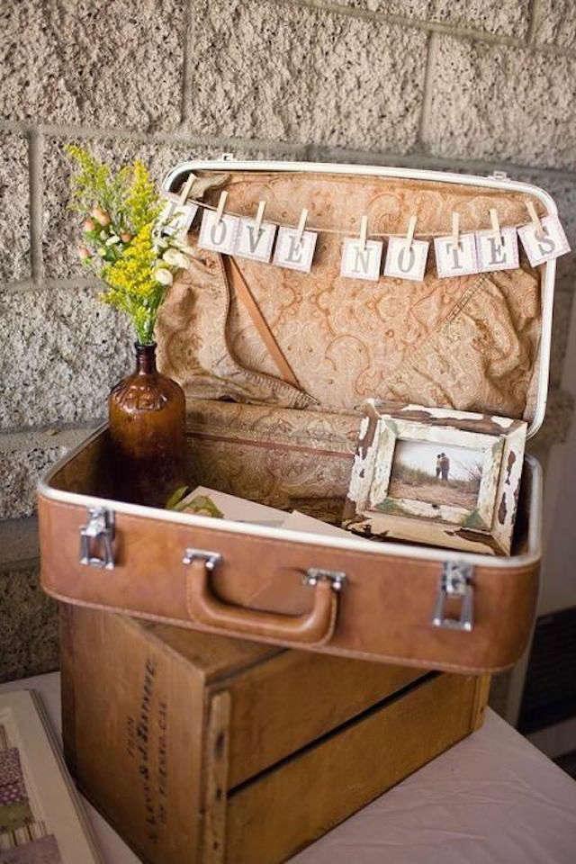 Una maleta como elemento decorativo en eventos