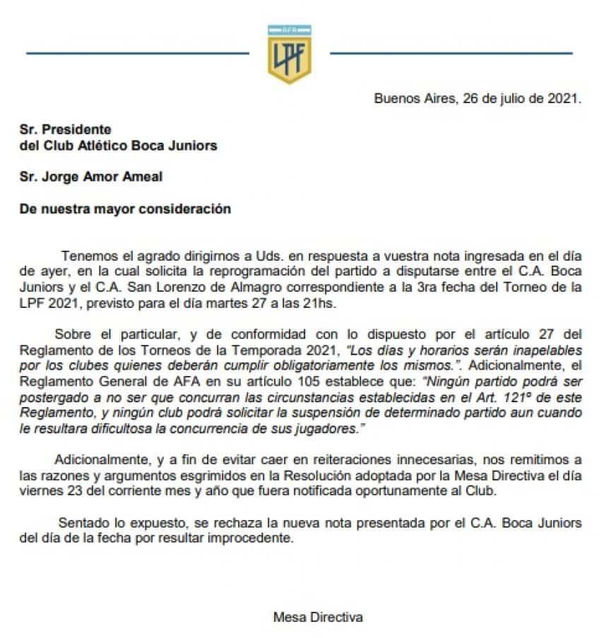 Otro revés para Boca: la Liga Profesional rechazó el pedido del Xeneize y deberá jugar el martes ante San Lorenzo con juveniles