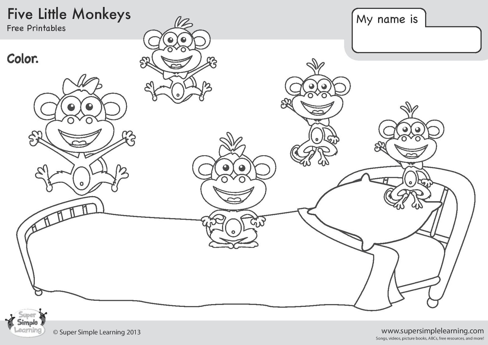 5 Little Monkeys Jumping Bed Coloring Pages