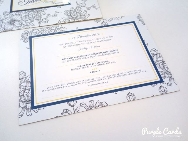 flowery, dark blue, asian wedding card, printing, cetak, kuala lumpur, bethany independent church, floral design, designer, layout, spot uv, finishing, matt lamination, selangor, johor bahru, singapore, malaysia, australia, nsw, perth, brisbane, sydney, melbourne, personalized, personalised, bespoke, envelope