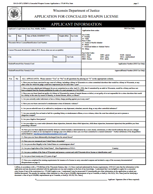 concealed_carry Oklahoma Concealed Carry Application Form To Print Out on
