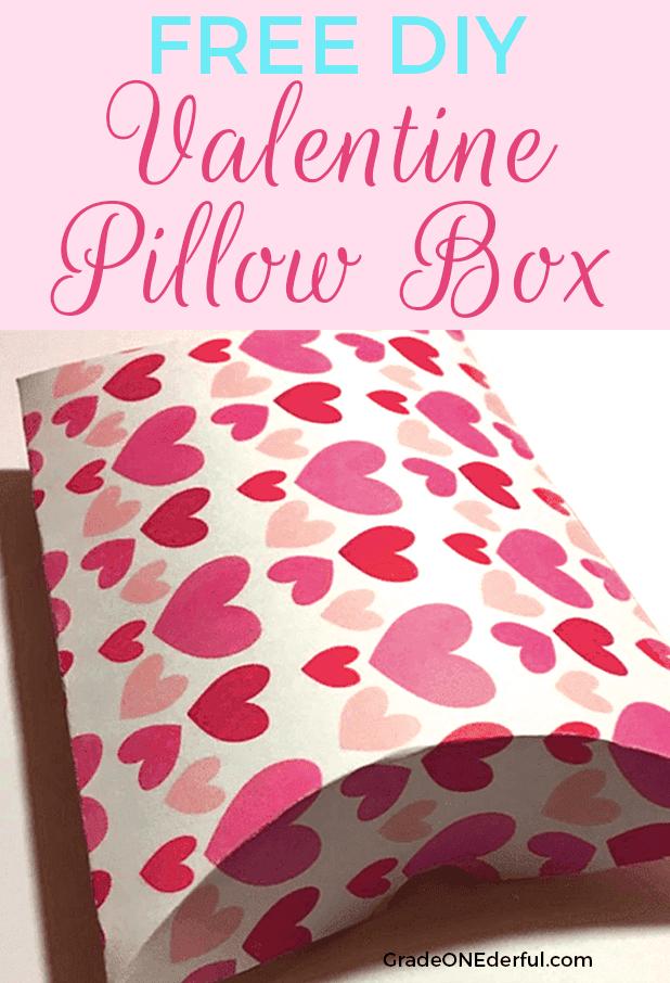 Free Valentine Pillow Box template. DIY