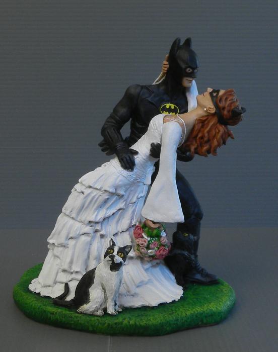 Matrimonio Tema Gatti : Orme magiche sposini per torta nuziale batman con sposa