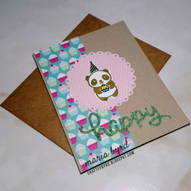 gold embossed panda and happy sentiment in glitter paper