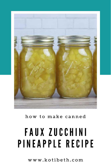 How to make faux zucchini pineapple. This is one of the oddest canning recipes I've tried, but it really works! Turn extra zucchini into faux pineapple to eat or to use in recipes. This canning zucchini recipe is great for beginners.  It's easy to follow and uses a water bath canner.  #canning #zucchini #recipe