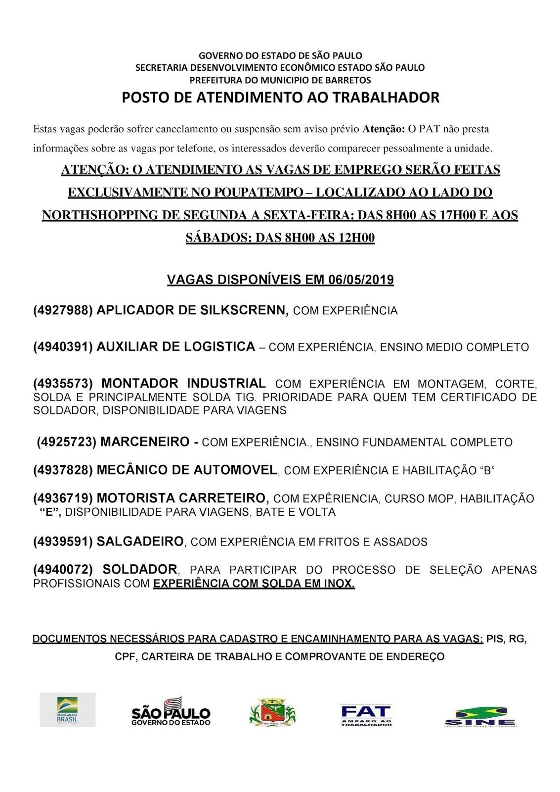 VAGAS DE EMPREGO DO PAT BARRETOS-SP PARA 06/05/2019 SEGUNDA-FEIRA