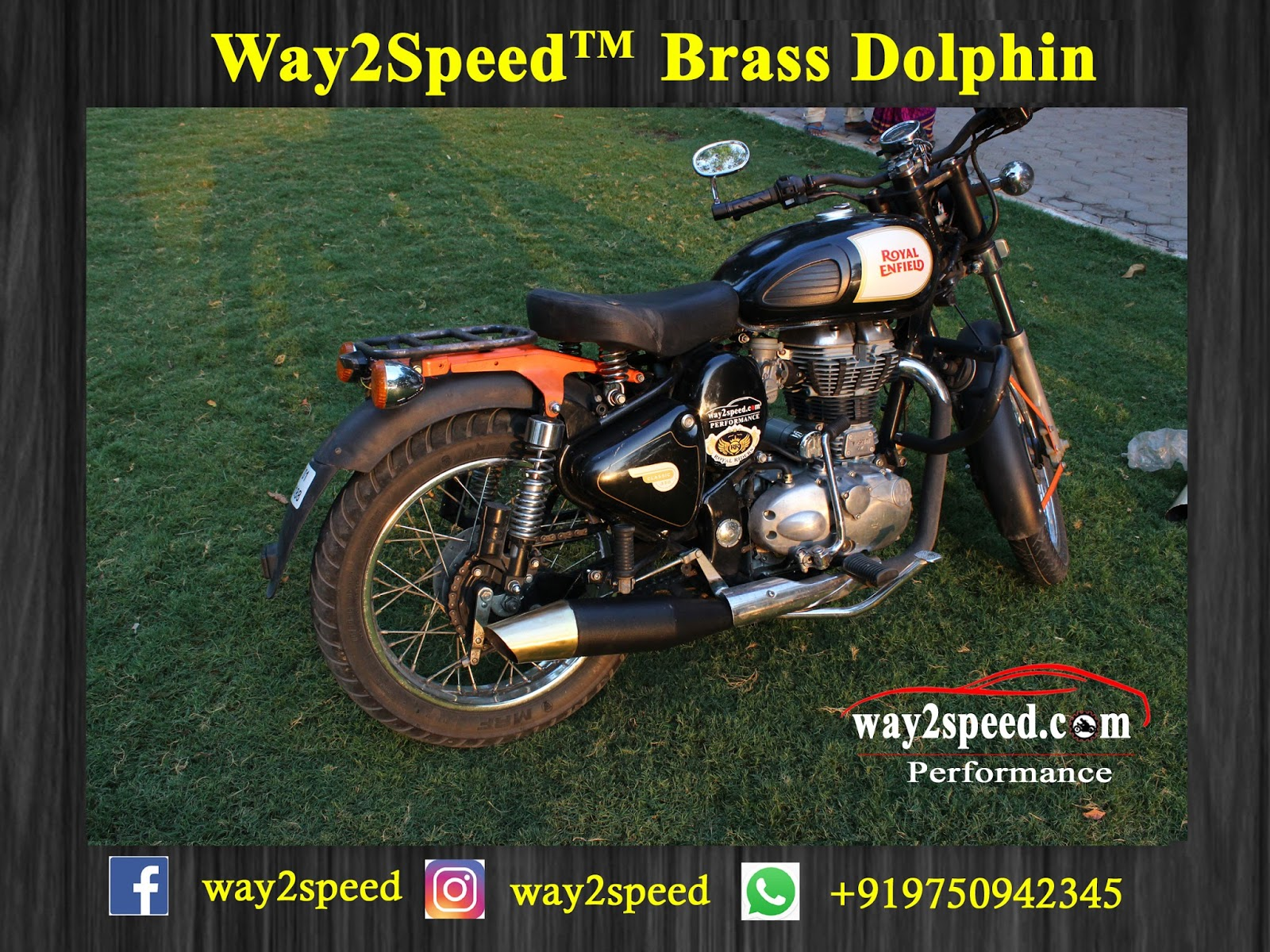 Royal Enfield Dolphin Silencer (brass) | way2speed Performance | royal enfield Silencer | royal enfield Exhaust | royal enfield classic 350 silencer sound | royal enfield glass wool silencer | Silencer for classic 350 | Best silencer for royal enfield | Bullet silencer sound increase  Royal Enfield Dolphin Silencer (brass) is a direct fit for Royal Enfield Bullet 350, Royal Enfield Classic 350, Royal Enfield Thunderbird 350, Royal Enfield Bullet 500, Royal Enfield Classic 500, Royal Enfield Thunderbird 500, Royal Enfield Continental GT