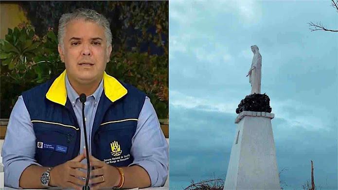 """Presidente da Colômbia (com roupas de resgatadores) """"É impactante que após um furacão categoria 5, ela estivesse de pé"""""""