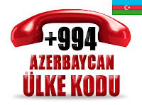 +994 Azerbaycan ülke telefon kodu