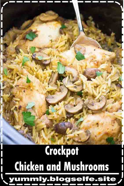 This Crockpot Chicken and Mushrooms is a delicious slow cooker recipe, made with chicken thighs, mushrooms and orzo pasta. One of our favorite healthy crock pot recipes for an easy weeknight dinner! #crockpot #slowcooker #chickenrecipes