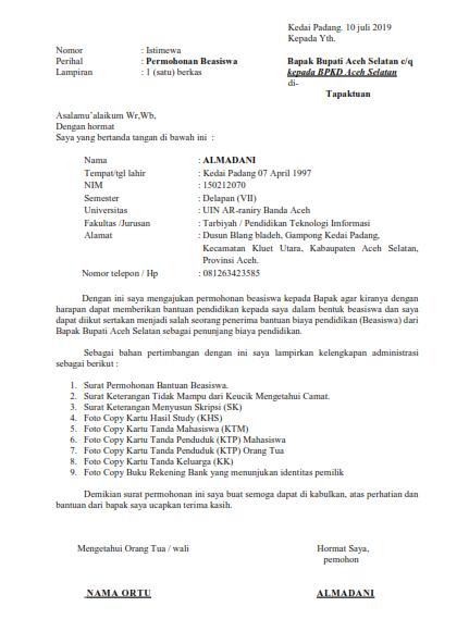 Contoh Surat Permohonan Beasiswa Aceh Selatan Almadani