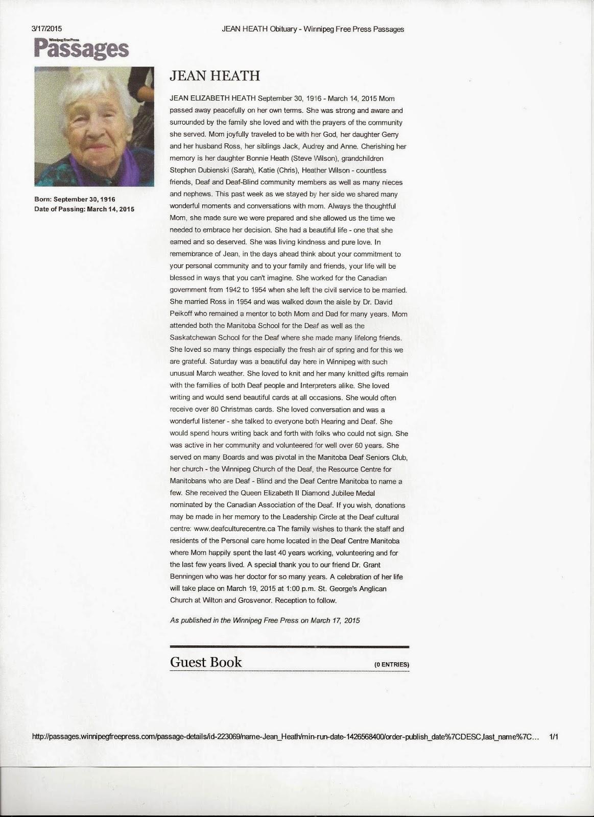 Deaf Centre Manitoba Inc : Jean Heath 1916-2015 Obituary