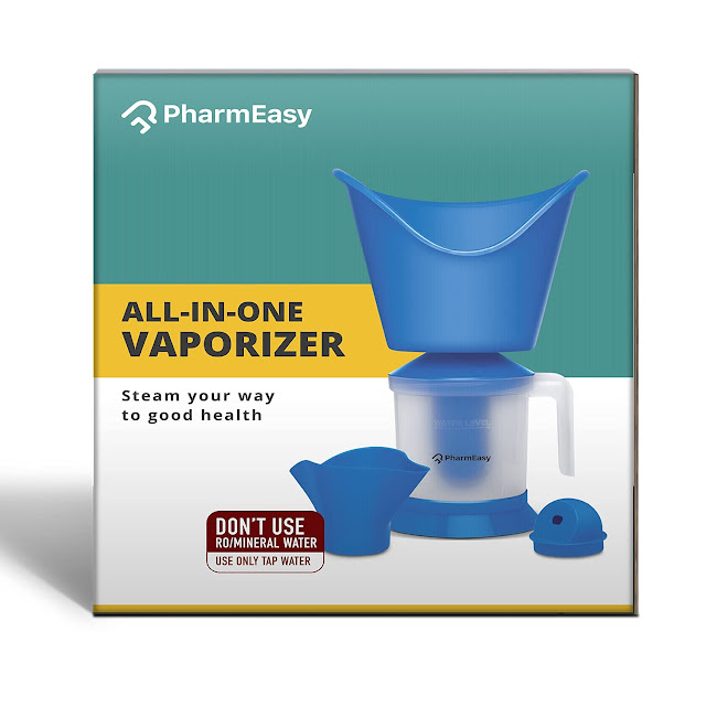 PharmEasy All in One Steam Vaporizer machine for Cold and Cough with Nozzle Inhaler, Facial Sauna and Facial Steamer Machine for Adults and Kids