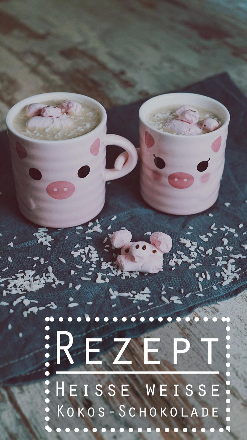 KuneCoco • Rezept • Heisse weisse Kokos-Schokolade mit Schweinchen-Marshmallows