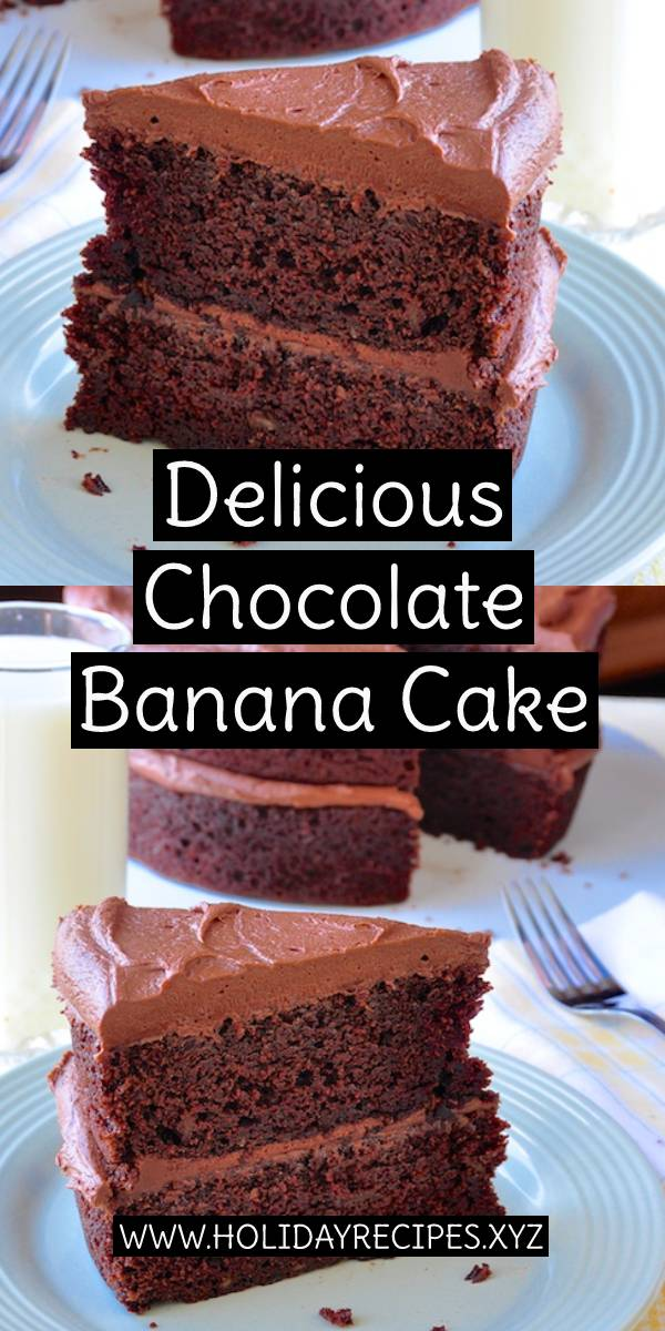 Delicious Chocolate Banana Cake Recipe - a terrific recipe to use up those speckled, over ripe bananas on your counter top in a moist, delicious dessert cake. #delicious #chocolate #banana #cake #cakerecipe #chocolaterecipe #easydessert #dessert #dessertrecipe #dessertcake