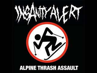 Insanity Alert, poza de profil: numele trupei in fontul specific si un schior sub care scrie alpine thrash assault