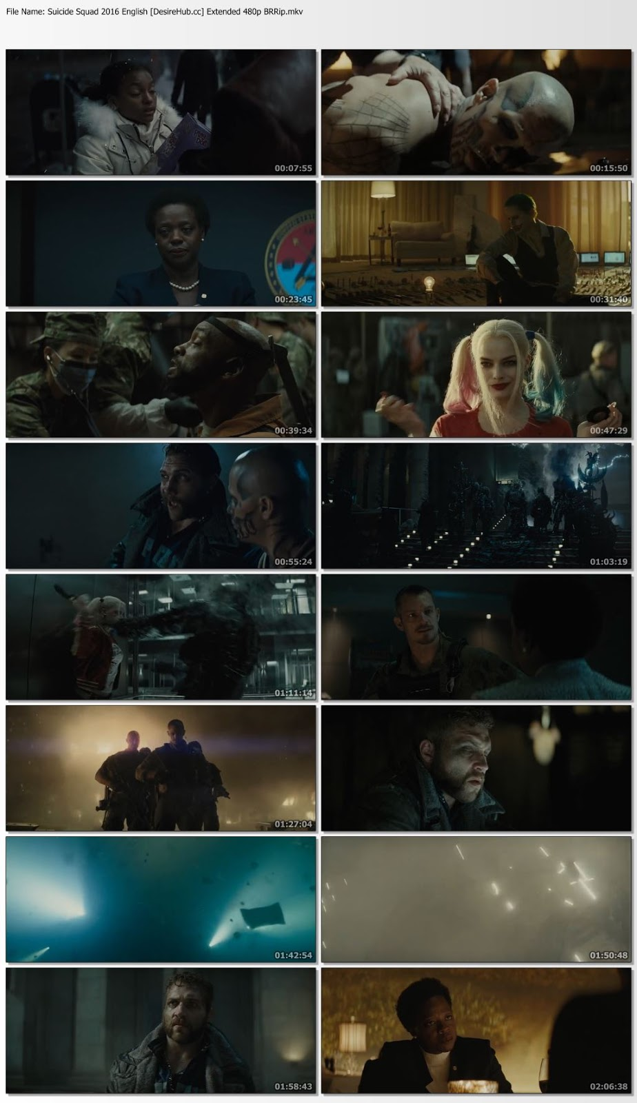 Suicide Squad 2016 English Extended 480p BRRip ESubs 350MB Desirehub