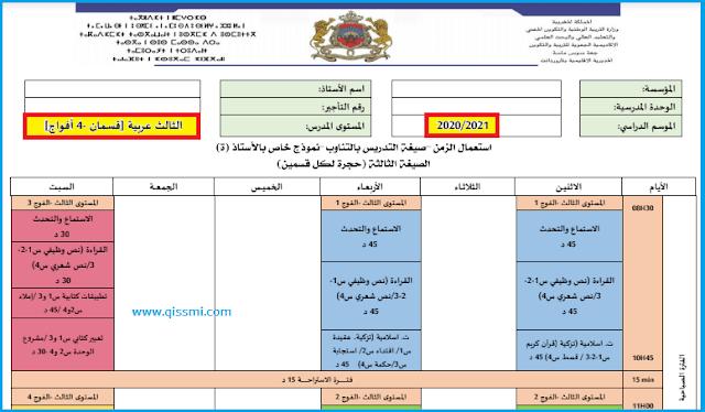 استعمال الزمن للمستوى الثالث 3 عربية وفق نمط التعليم بالتناوب word