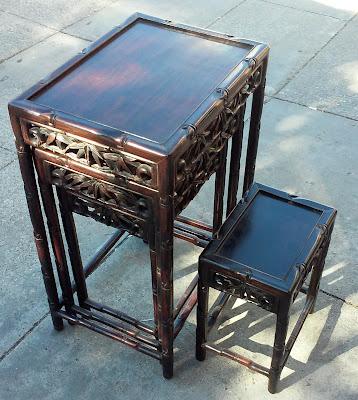 Exceptionnel SOLD #7444 Asian Teak Tropical 4 Piece Nesting Table Set   $175