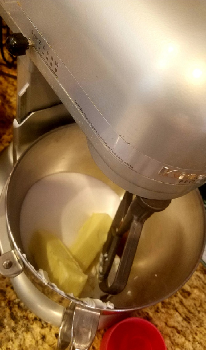 mixing loft cookie batter in my Kitcheaide mixer