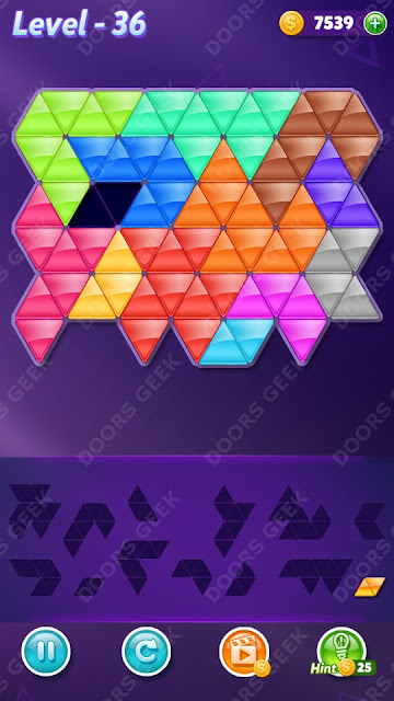 Block! Triangle Puzzle Champion Level 36 Solution, Cheats, Walkthrough for Android, iPhone, iPad and iPod