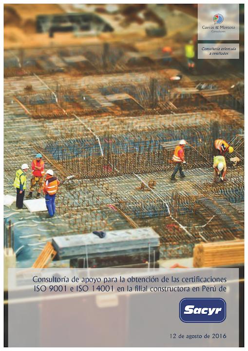 Portada del contrato por el que Cuevas y Montoto Consultores ayudará a Sacyr Construcción Perú a obtener las certificaciones ISO 9001 e ISO 14001.
