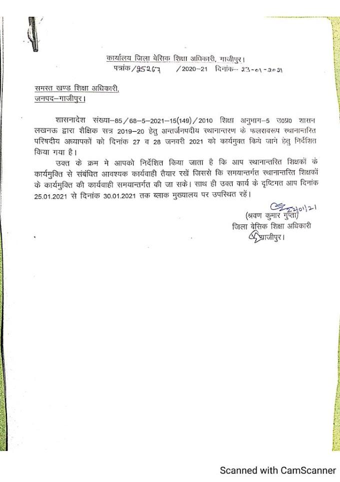 गाजीपुर: अंतर्जनपदीय स्थानांतरण के संबंध में बेसिक शिक्षा अधिकारी द्वारा आवश्यक सूचना जारी