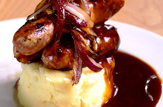 Bangers and Mash with Roast Onion & Red Wine Gravy