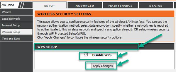 dlink dsl-224 WPS settings
