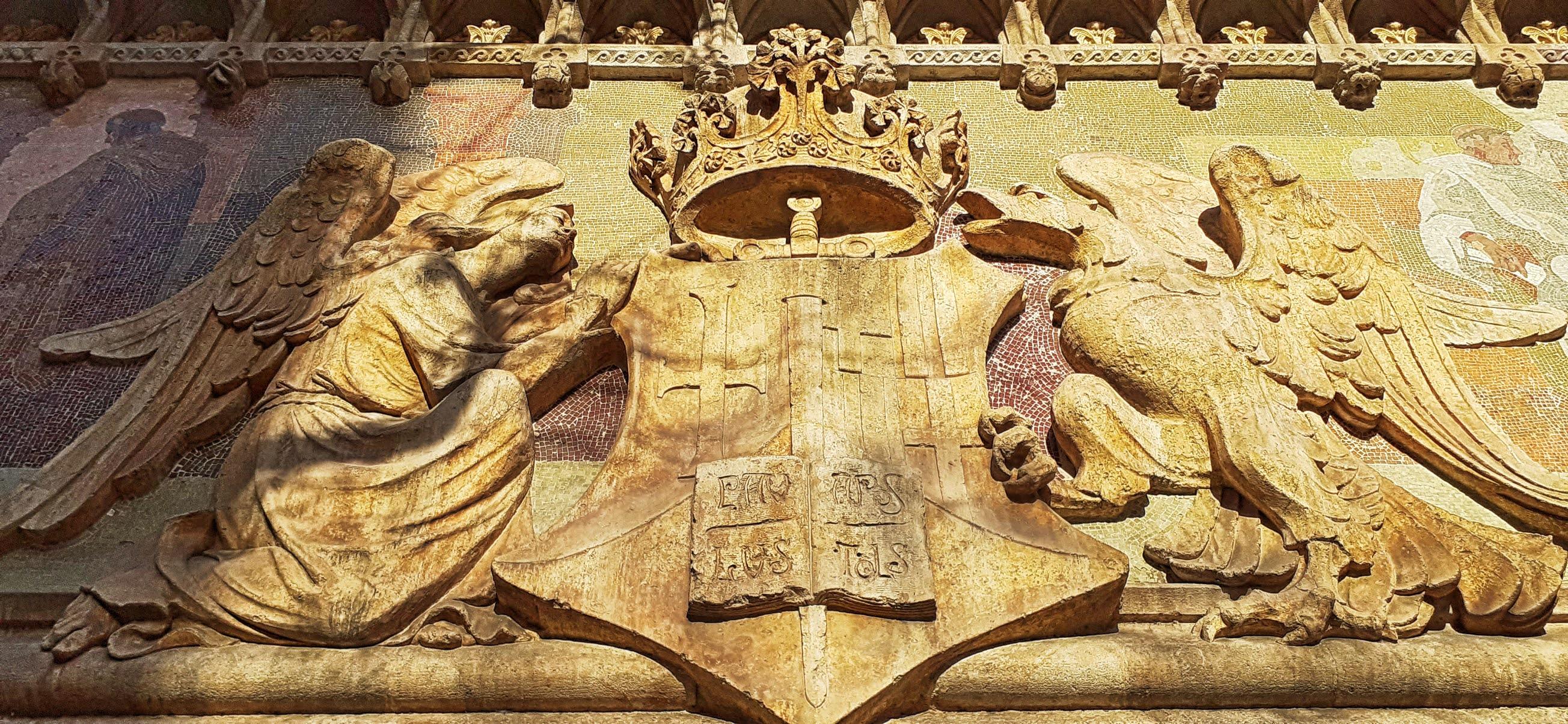 Sant Pau shield detail at Cartagena street entrance
