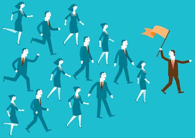 أشخاص يتبعون القائد الذي يقودهم نحو النجاح