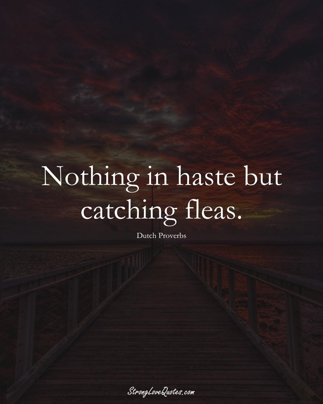 Nothing in haste but catching fleas. (Dutch Sayings);  #EuropeanSayings
