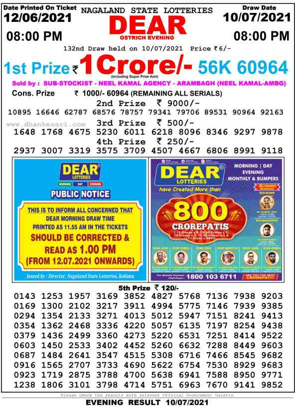 lottery sambad 10 7 2021 lottery result 8pm
