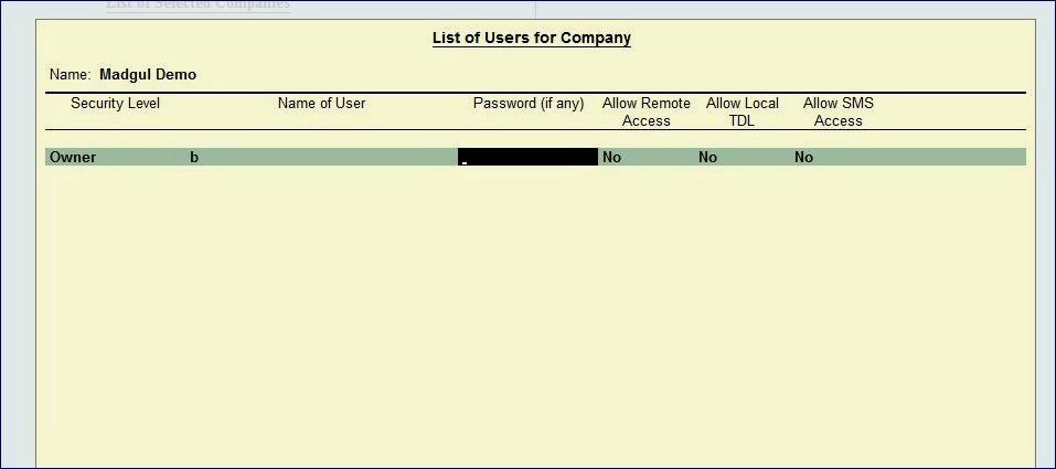 Tally Customization: Auto login