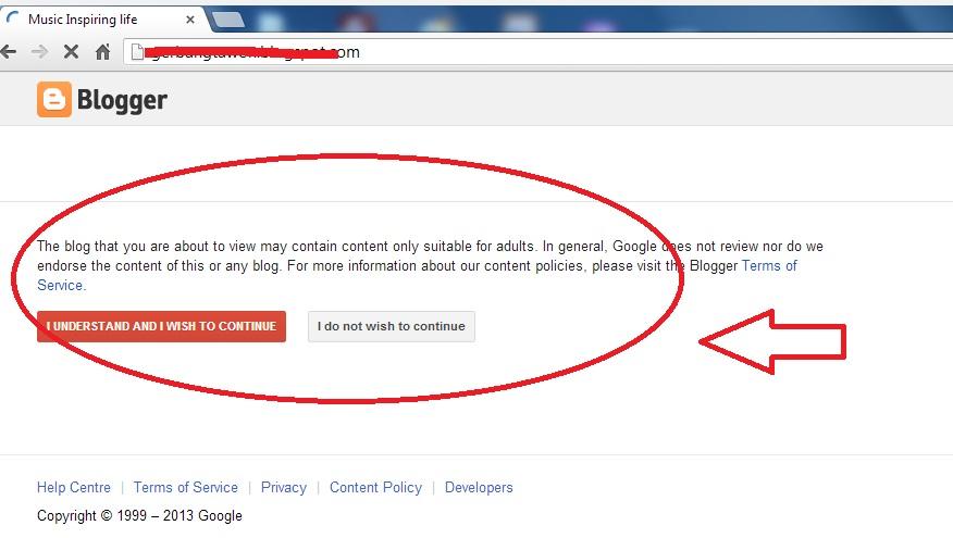 Blogspot content warning