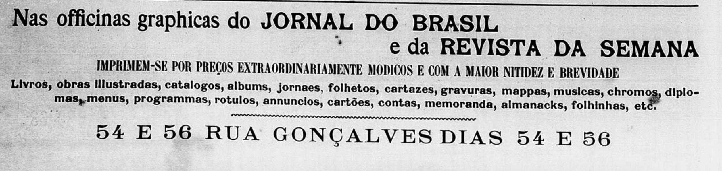 Anúncio de 1901 promovia os serviços gráficos do Jornal do Brasil