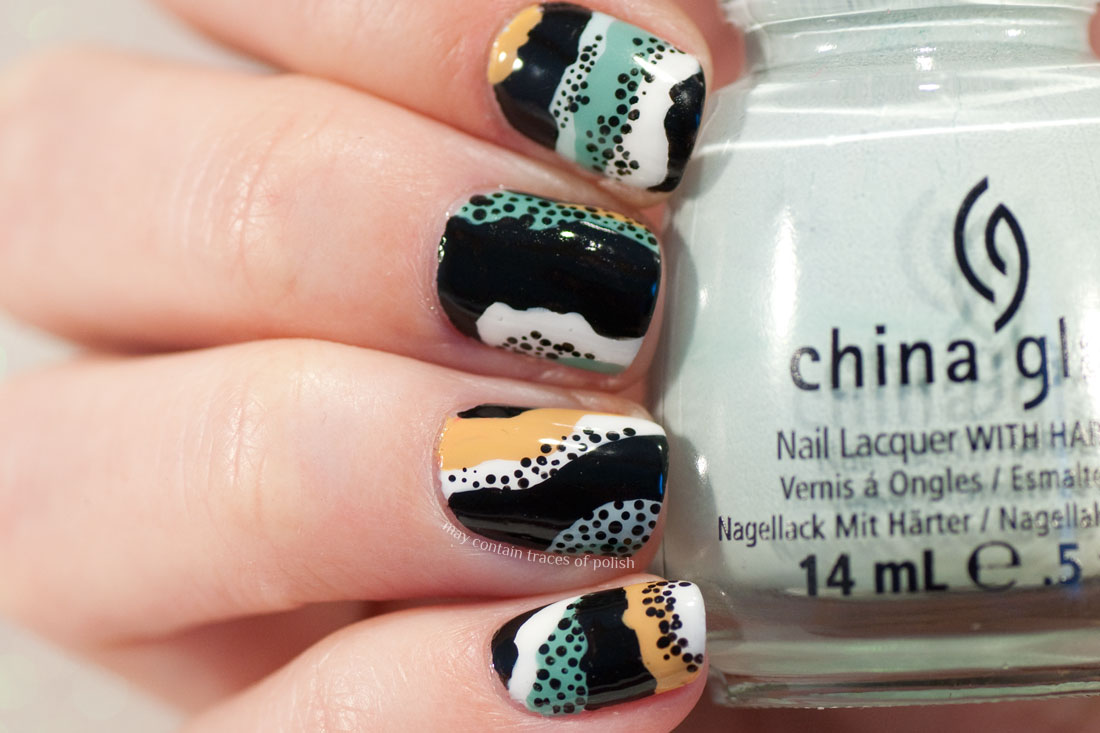 Abstract Wavy Pattern Nail Art with dots